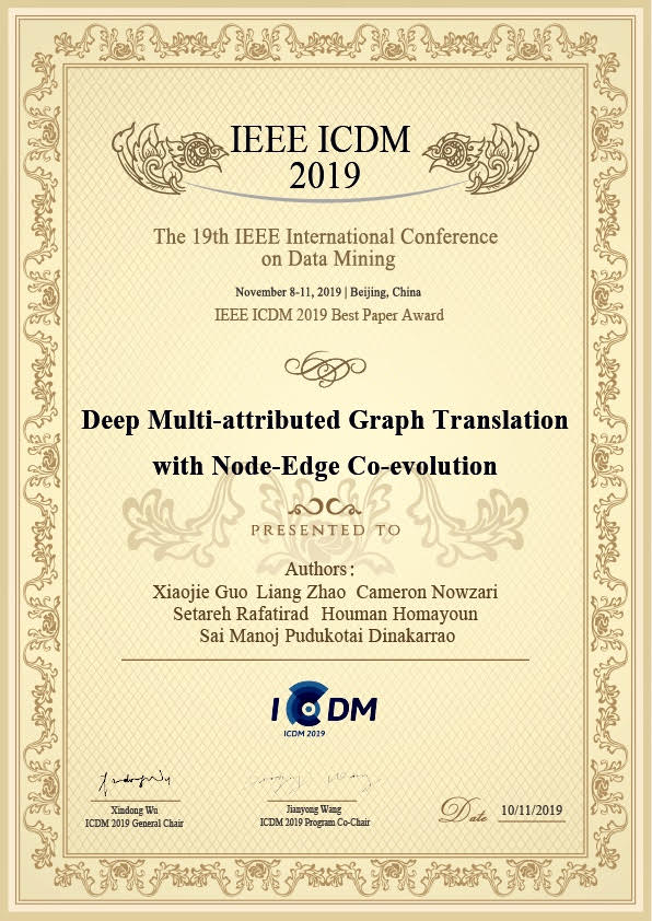 Prof. Houman Homayoun Wins Best Paper Award at 19th IEEE International Conference on Data Mining